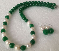7-8MM White Akoya Cultured Pearl & 8mm  Jade Necklace 18'' + Earring Set AAA