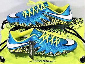 Nike Hypervenom Phinish FG Womens Soccer Cleats Blue & Volt Sz 8 NEW 744947 400