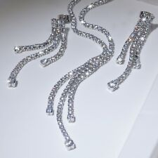 18k white gold simulated diamond designer tassel earrings necklace wedding set