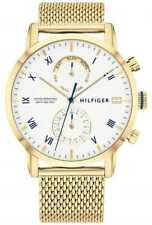 Tommy Hilfiger Kane | Gouden Ip Mesh Armband | Witte 1710403 Horloge