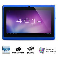 Tablette 7 pouces Android 4.4 8GB Quad Core Bluetooth Wi-Fi 8GB, jeux - bleu
