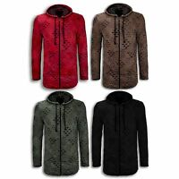 NEW Men Ripped Hooded Sweaters Jackets Zip Up Long Sleeve Distressed Shirts