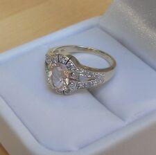 ESTATE  SOLID 14K 4.3gr.  NATURAL PINK MORGANITE & DIAMOND HALO SPLIT SHANK RING