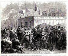 GRAVURE DE 1873  -  LE HAVRE ARRIVEE DU CAPITAINE SURMONT MARIN SURVIVANT  3L596