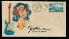 1960 Fender Stratocaster & Pin Up Girl Featured on Collector's Envelope *OP346
