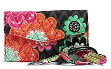 Vera Bradley Factory Exclusive Strap Wallet Ziggy Zinnia Crossbody New NWT