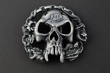 LARGE 3D GOTHIC VAMPIRE SKULL & CHAIN BELT BUCKLE METAL DARK