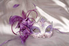 Feather Venetian Masquerade Masks for women - Daniela Silver