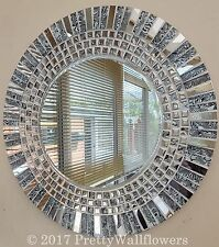 Stunning Round Silver Chrome Grey,  Black & White Glass Handmade Mosaic  Mirror
