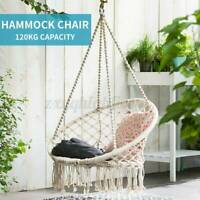 Cotton Rope Macrame Hanging Hammock Chair Swing Outdoor Home Garden Patio Porch
