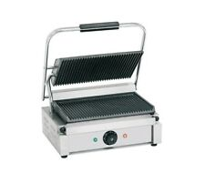 Quattro Heavy Duty Large Single Panini - Contact Grill Ribbed Top + Bottom Plate