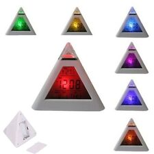 New 7 Colours LED Pyramid Digital LCD Alarm Clock with Thermometer °C & °F