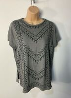 WOMENS JACK WILLS SIZE UK 8 GREY BEADED CREW NECK CASUAL SUMMER T-SHIRT TOP