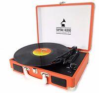 Capital Briefcase Record Player Suitcase Vinyl Turntable USB 3W Speakers  Orange