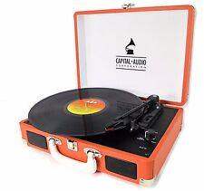 Capital Mallette électrophone Valise vinyle tourne-disque USB 3 W Haut-parleurs Orange