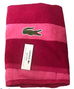 "Lacoste Match Cotton Colorblocked Bath Towel Pink  Magenta 30"" x 52"" LARGE CROC"
