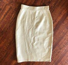 Vintage High Waist Leather Pencil Skirt Cream Ivory S M EREZ 8