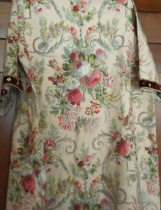 Antique  French Floral Roses Fabric #2 ~  Robe Caftan Costume ?  Rose Green Blue