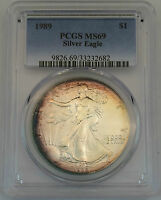 1989 $1 American Silver Eagle PCGS MS69 (Nicely Toned) ASE