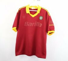 90s Adidas Mens Large AS Roma Barilla Spell Out Home Football Soccer Jersey
