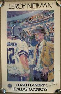Signed Tom Landry / Artist Leroy Neiman Limited Poster Dallas Cowboys Staubach