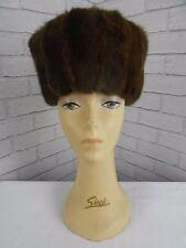 "Vintage 1950s Dark Brown Douglas Squirrel Tall Sided Retro Real Fur Hat 21"""