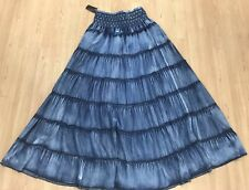 Soft Surroundings, PXS XS Western Tiered Denim Maxi Skirt Cowgirl
