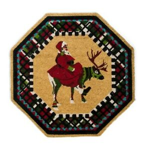 """Mackenzie Childs 30"""" Olde Time Santa (Hand-Painted) Octagon Shaped Entrance Mat"""