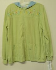 NEW size 14 Alfred Dunner knit hooded JACKET light green embroidered