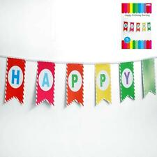 New Multi Coloured Happy Birthday Bunting Flag Banner Re - Useable 3 Meters