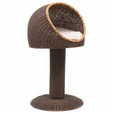 "17"" Rattan Wicker Raised Cat Kitten Bed Ball House Condo Nest Perch Hood Cushion"