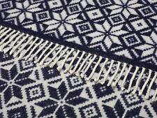 100% pure lambswool Bronte nordic snowflake large reversible throw blanket