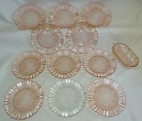 Anchor Hocking USA Old Cafe 1 Crystal 10 Pink Bread Plates w/ Relish-2 Chipped