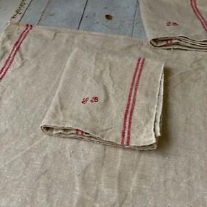 Hemp Towel SB Monogram Antique French Linen Towel with Red Striping Farmhouse
