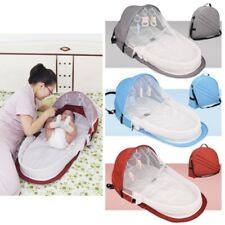 Infant Sleeping Basket Travel Bassinet Foldable Baby Bed Sunshade Mosquito Net