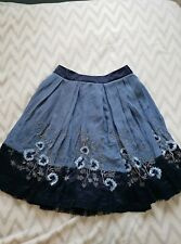 WHISTLES Silk Skirt Size 8 Blue Floral Lined