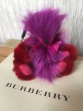 BURBERRY DARK RED & PURPLE THOMAS BEAR POMPOM CASHMERE KEYRING BAG CHARM BNWT