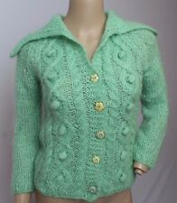 Free People Mint Green Fuzzy Furry Mohair Flower Buttons Cardigan Sweater XS