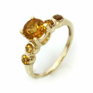 14k Solid Yellow Gold 1.4 ctw Natural Yellow Citrine 5 Stone Solitaire Ring
