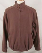 ORVIS Brown Full Zip Jacket Leather Buttons Size Medium Wool & Cashmere Blend