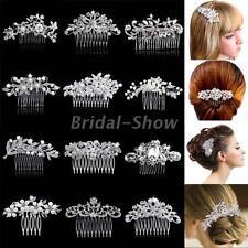 Wedding Bridal Leaf Flower Hair Combs Diamante Crystal Pearl Slide Clip Tiara