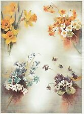 Rice Paper for Decoupage Decopatch Scrapbook Craft Sheet Vintage Colorful Flower