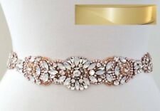 """Wedding Sash Belt - Rose Gold Opal Crystal Pearl BELT = 15 3/4"""" long = IVORY"""