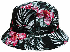BLACK FLORAL HAWAIIAN PRINT BUCKET HAT FLOWER PATTERN BOONIE CAP BEACH FISHING