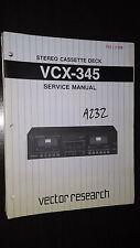 Vector research vcx-345 service manual original repair book stereo tape player