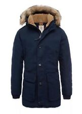 $398 NWT Timberland Men's Scar Ridge Waxed Canvas Down Parka Navy Blue A1CDI. L