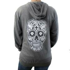 Gray Lightweight Zipper Hoodie with Day of the Dead Sugar Skull Detail on Back
