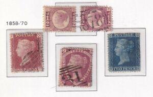 1858-70 GROUP 1/2D BANTAMS X2 PLUS 2D BLUE PLATE 9 AND 1.5D