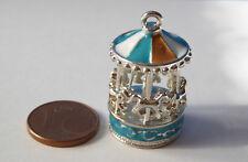 Karussell Pferde Spielzeug Metall blau rot Puppenstube Puppenhaus Miniatur 1:12