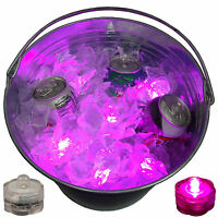 WOW Sick Rave Beer Ice Bucket Bright Glow LED Lights Submersible Party 12 Pink